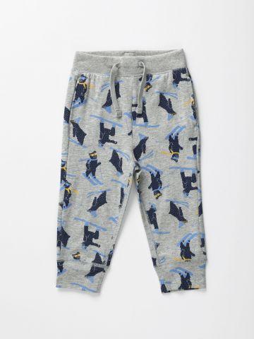 מכנסיים ארוכים בהדפס סקי עם כיסים / 12M-5Y