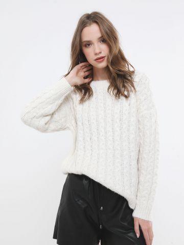 סוודר צמות אוברסייז
