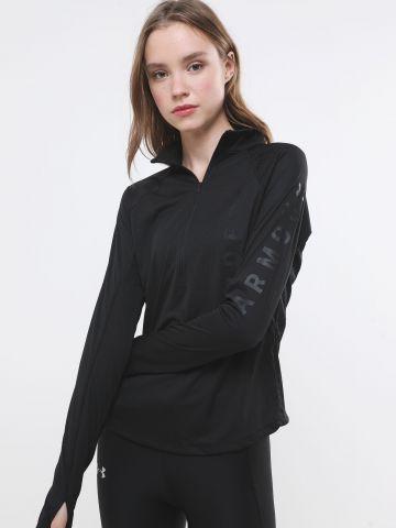 חולצת אקטיב עם רוכסן והדפס לוגו