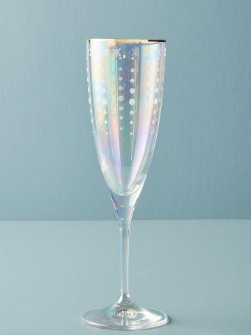 מארז 2 כוסות שמפניה מקריסטל עם שפה מוזהבת Trudie