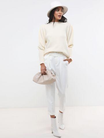 מכנסי פייפרבאג עם חגורה בשילוב אבזם