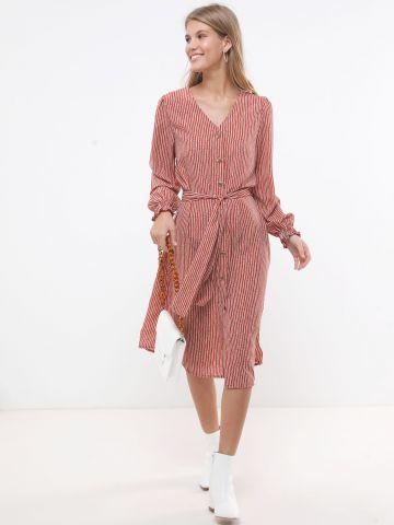 שמלת מידי פסים מכופתרת