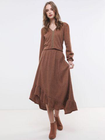 חצאית סריג מקסי פפלום