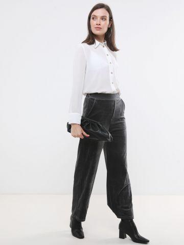 מכנסי קטיפה ארוכים עם סיומת מתרחבת