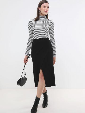 חצאית סריג מידי ריב בסגנון מעטפת