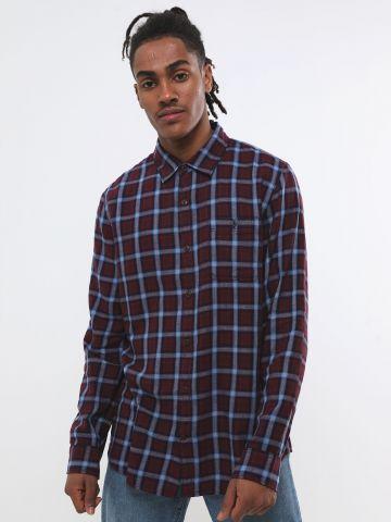 חולצה מכופתרת בהדפס משבצות