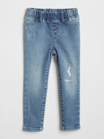 ג'ינס בשטיפה בהירה עם קרעים / 12M-5Y