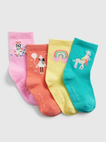מארז 4 זוגות גרביים בצבעים שונים / 12M-5Y
