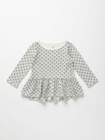חולצת פפלום בהדפס עם שרוולים ארוכים / 12M-5Y