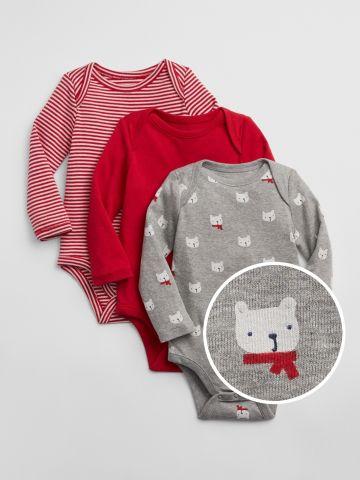 מארז 3 בגדי גוף בהדפסים שונים / 0-24M