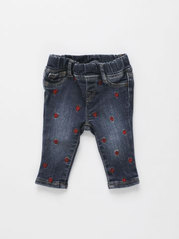 ג'ינס סטרץ' ברקמת לבבות / 0-24M