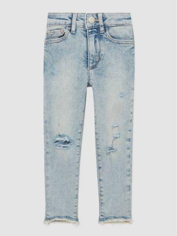 ג'ינס סקיני אסיד-ווש עם קרעים / בנות