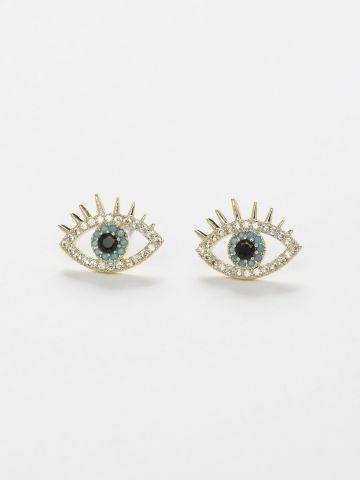 עגילים צמודים משובצים בדוגמת עין