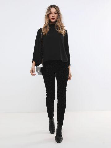 ג'ינס סקיני קטיפה בדוגמת חברבורות