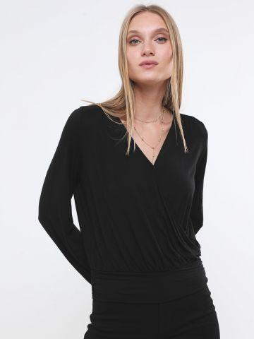 חולצת מעטפת עם שרוולים ארוכים של BANANA REPUBLIC