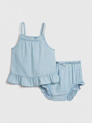 סט שמלה ותחתונים ג'ינס עם מלמלה / בייבי בנות