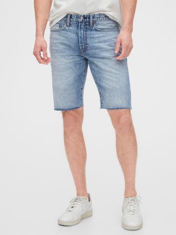ג'ינס קצר משופשף עם סיומת פרומה של GAP