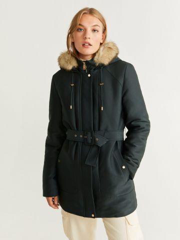 מעיל פארקה עם חגורה ובטנה פרוותית