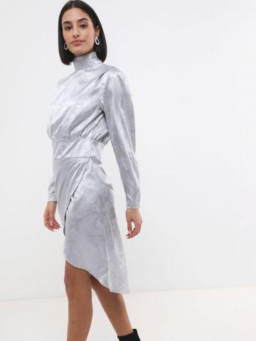 שמלת סאטן מידי עם חצאית מעטפת