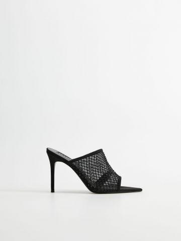 נעלי עקב סטילטו רשת בעיטור אבנים