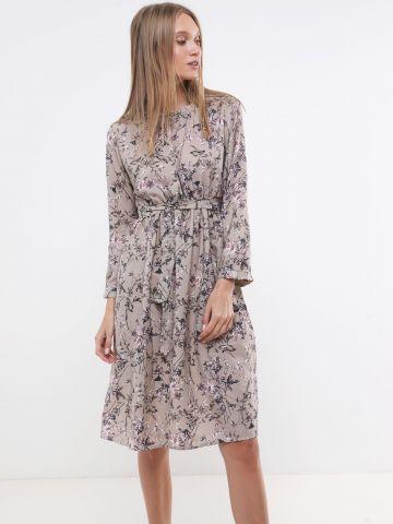 שמלת מידי בהדפס פרחים עם חגורה X ארבל