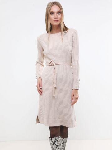 שמלת סריג ריב מידי עם חגורת קשירה X ארבל