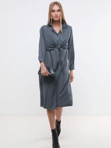 שמלת מידי מכופתרת מבד נשפך עם עיטור קשירה X ארבל