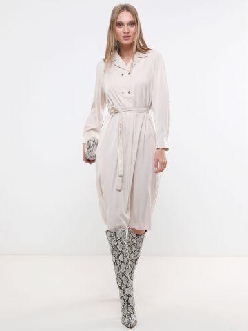 שמלת מידי מבד נשפך עם חגורת קשירה X ארבל