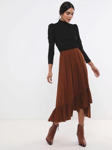 חצאית פליסה מידי עם סיומת פפלום אסימטרית X ארבל