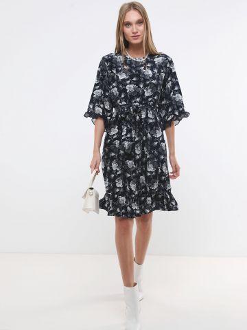 שמלת מידי בהדפס פרחים עם מלמלה X ארבל