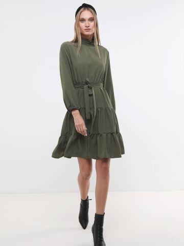 שמלת קומות מידי עם חגורת קשירה X ארבל