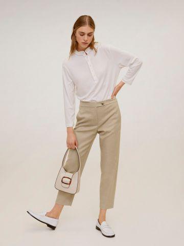 מכנסיים מחויטים קרופ