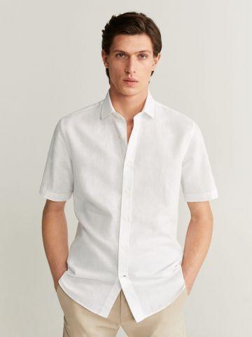 חולצה מכופתרת בשילוב כותנה ופשתן