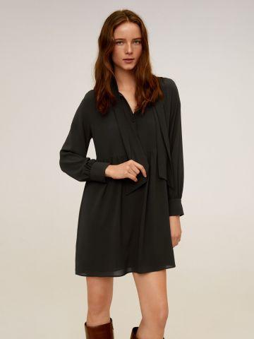שמלת מיני מכופתרת עם אלמנט קשירה