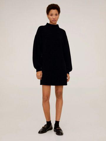 שמלת סוודר שניל מיני עם שרוולי בלון
