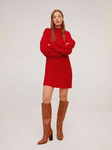 שמלת סוודר שניל מיני עם שרוולי בלון של MANGO