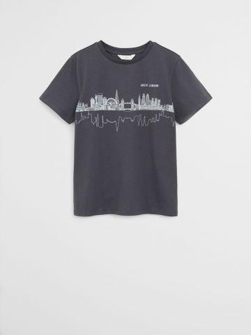 טי שירט עם הדפס לונדון / בנים