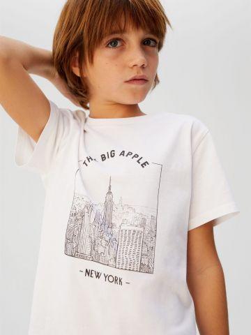 טי שירט עם הדפס העיר ניו יורק