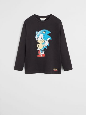 טי שירט Sonic פאייטים מתחלפים / בנים