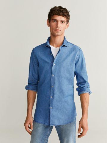 חולצת ג'ינס מכופתרת בגזרת Slim Fit