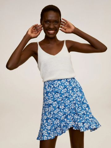 חצאית מיני מעטפת בהדפס פרחים
