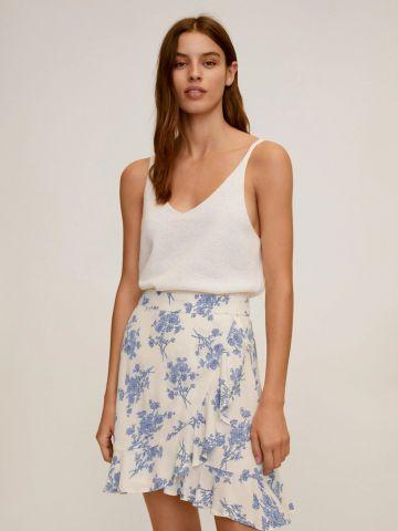חצאית מיני מעטפת בהדפס פרחים של MANGO
