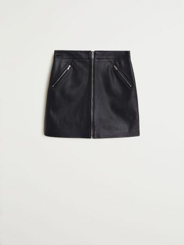 חצאית מיני דמוי עור עם רוכסן