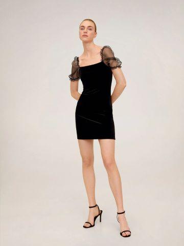 שמלת קטיפה מיני עם שרוולי אורגנזה