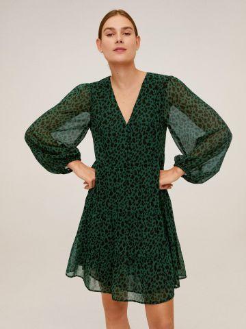 שמלת שיפון מיני בהדפס מנומר עם שרוולים נפוחים