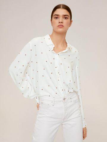 חולצה מכופתרת בשילוב רקמת נקודות