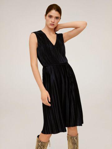 שמלת מידי פליסה בשילוב קשירה