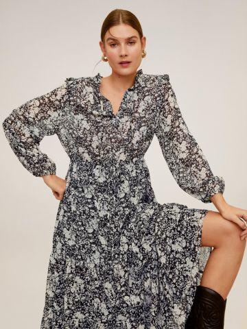 שמלת מקסי שקפקפה בהדפס פרחים