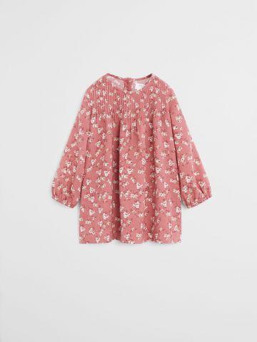 שמלת פרחים עם עיטורי קפלים / 9M-4Y