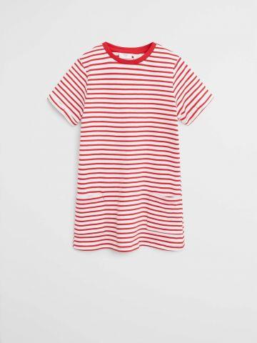 שמלת טי שירט בהדפס פסים / בנות